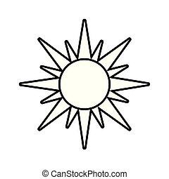 été, chaud, soleil, isolé, icône