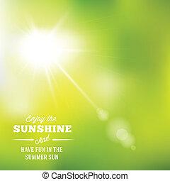 été, chaud, soleil, résumé, typographie, vecteur, fond