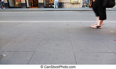 été, chaussures, gens, loin, promenade, trottoir, jambes, côté
