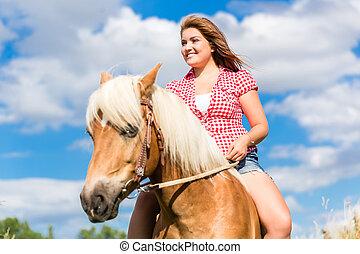été, cheval, femme, pré, équitation