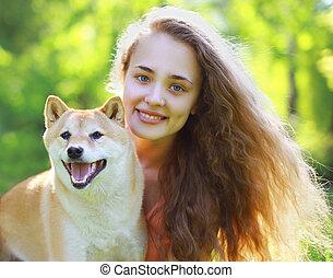 été, chien, portrait, girl, agréable, heureux