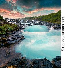 été, -, chute eau, coucher soleil, bruarfoss., unique