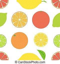 été, citrus, citron, pattern., seamless, grapefruit., orange, clair, chaux