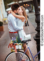 été, city., vélos, amour, couple, fetes, bicycles, wedding-
