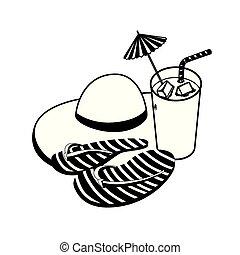 été, cocktail, paille, inverser fiascos, chapeau