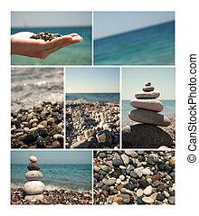 été, collection, vacances, conception, mer, ton