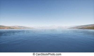 été, collines, jour, lac