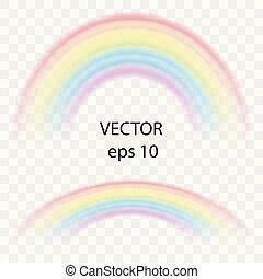 été, coloré, elements., arc-en-ciel, couleur, palette., symbole, effet, illustration, arrière-plan., vecteur, conception, délicat, formulaire, réaliste, voûte, transparent