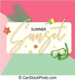 été, coloré, etoile mer, image, glace, snorkel, vecteur, coucher soleil, fond, crème
