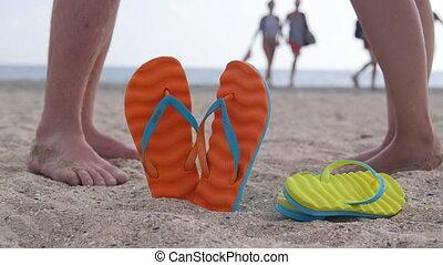 été, coloré, fuite, deux, vacances, plage