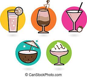 été, coloré, isolé, retro, blanc, boissons