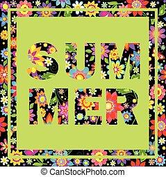 été, coloré, lettrage, papier peint, imprimé, fleurs
