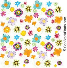 été, coloré, modèle, vecteur, fleurs fraîches