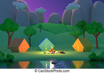 été, coloré, render, tentes, camp, autour de, fire., forêt, fond, nuit, montagnes., 3d