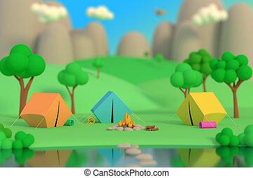 été, coloré, render, tentes, defocus, camp, fire., effect., après-midi, forêt, fond, 3d, montagnes., autour de