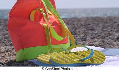 été, coloré, vacances, fuite, fond, plage
