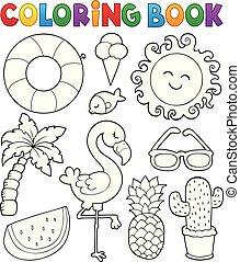 été, coloration, collection, 1, thème, livre