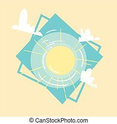 été, concept, été, soleil, vacances, mer, vacances, icône