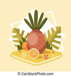été, concept, été, vacances, mer, ananas, vacances, icône