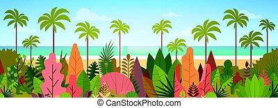 été, concept, île, arbre, océan vacances, exotique, plage paume