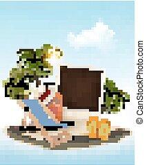 été, concept, arbre, photo, vacances, arrière-plan., paume, chair., vector., plage