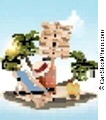 été, concept, arrière-plan., bois, vacances, signe, arbre, paume, chair., vector., plage