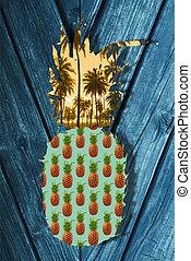été, concept, art, fruit, ananas