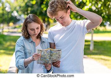 été, concept, direction., perdu, ville, misunderstanding., map., nature., tient, go., sien, savoir, mains, pas, girl, où, type, route, il