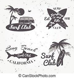 été, concept, ensemble, voiture, design., camping car, bannière, vendange, arrière-plan., retro, comités surf, badge., emblème, paumes, club, surfeur, icône, surfer, vecteur, dehors, shark.