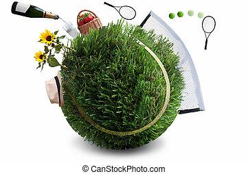 été, concept, herbe, tennis