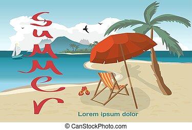 été, concept, illustration., paumes, plage, plage., espace, text., vacances, plat, vecteur, privé, fond, mer, dessin animé, paysage