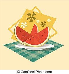 été, concept, mer, vacances, pastèque, été, vacances, icône