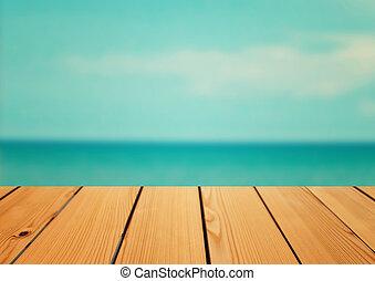été, concept, pont, bois, sur, fond, mer, table, vide