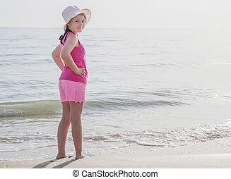 été, concept, regard, vacances, rivage, appareil photo, enfant, heureux