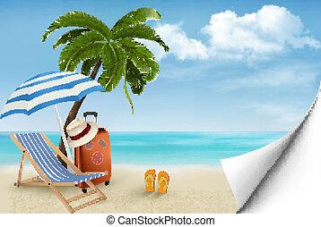 été, concept, vacances, arbres, arrière-plan., paume, chair., vector., plage
