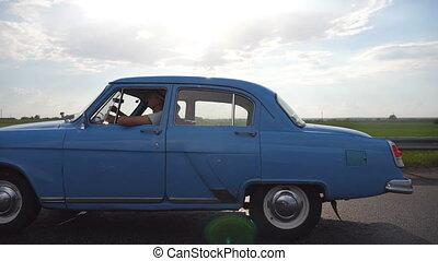 été, concept, vieux, classique, automobile., jeune, holiday...