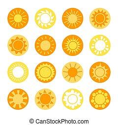 été, conception, white., pictogramme, ensemble, symbole, soleil, isolé, collection., site web, mobile, jaune, toile, app., icônes, dessin animé, bouton