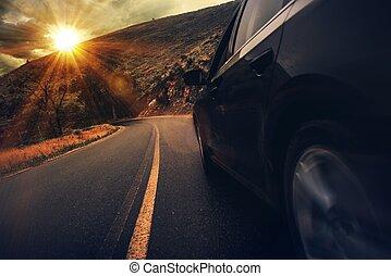 été, conduire, autoroute