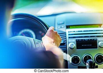 été, conduire, voiture
