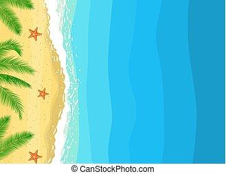 été, copie, plage, composition, espace