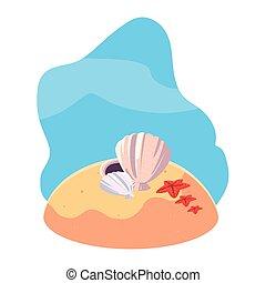été, coquille, etoile mer, scène, plage sable
