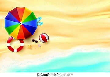 été, coquille, parapluie, fond, etoile mer, espace, résumé, vacances, sable, concept, mer, rocher, copie, plage, vue dessus
