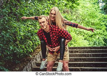 été, couple, amusement, park., sauvage, avoir, aimer