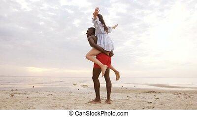 été, couple, amusement, plage, avoir, heureux
