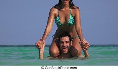été, couple, jeune, océan, vacances, amusement, avoir