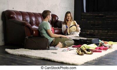 été, couple, jeune, vacances, aller, heureux