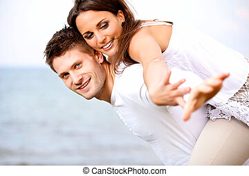 été, couple, jeune, vacances, leur, séduisant, apprécier