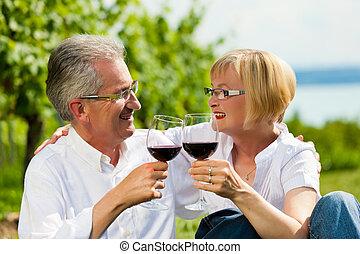 été, couple, lac, boire, heureux, vin