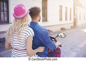 été, couple, moto, jour