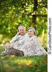 été, couple, parc